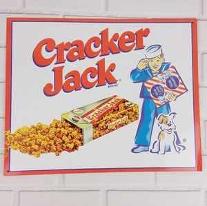 Other - Cracker Jack Boy Dog Logo Tin Metal Sign White Red